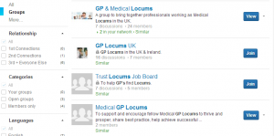 Find locum Linkedin groups